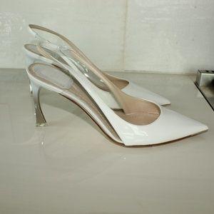 Christian Dior sling back white pumps